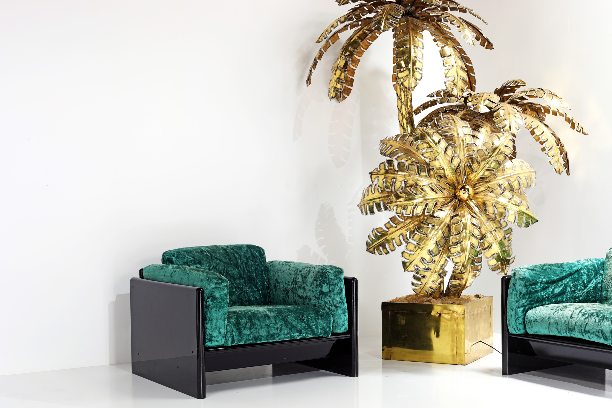 XXL exclusive palm tree lamp in brass