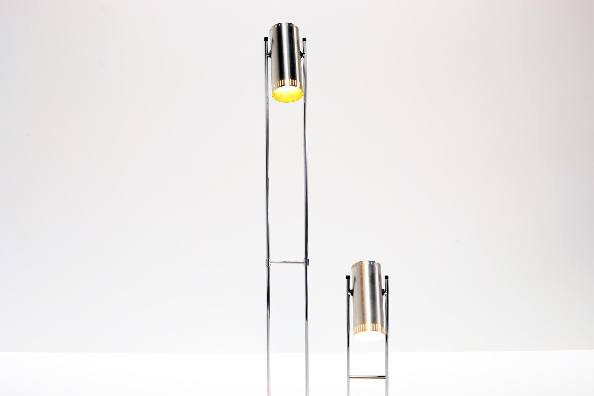 """Vloerlamp  en tafellamp """"Trombone"""" van Jo Hammerborg voor Fog & Morup, 1960's"""