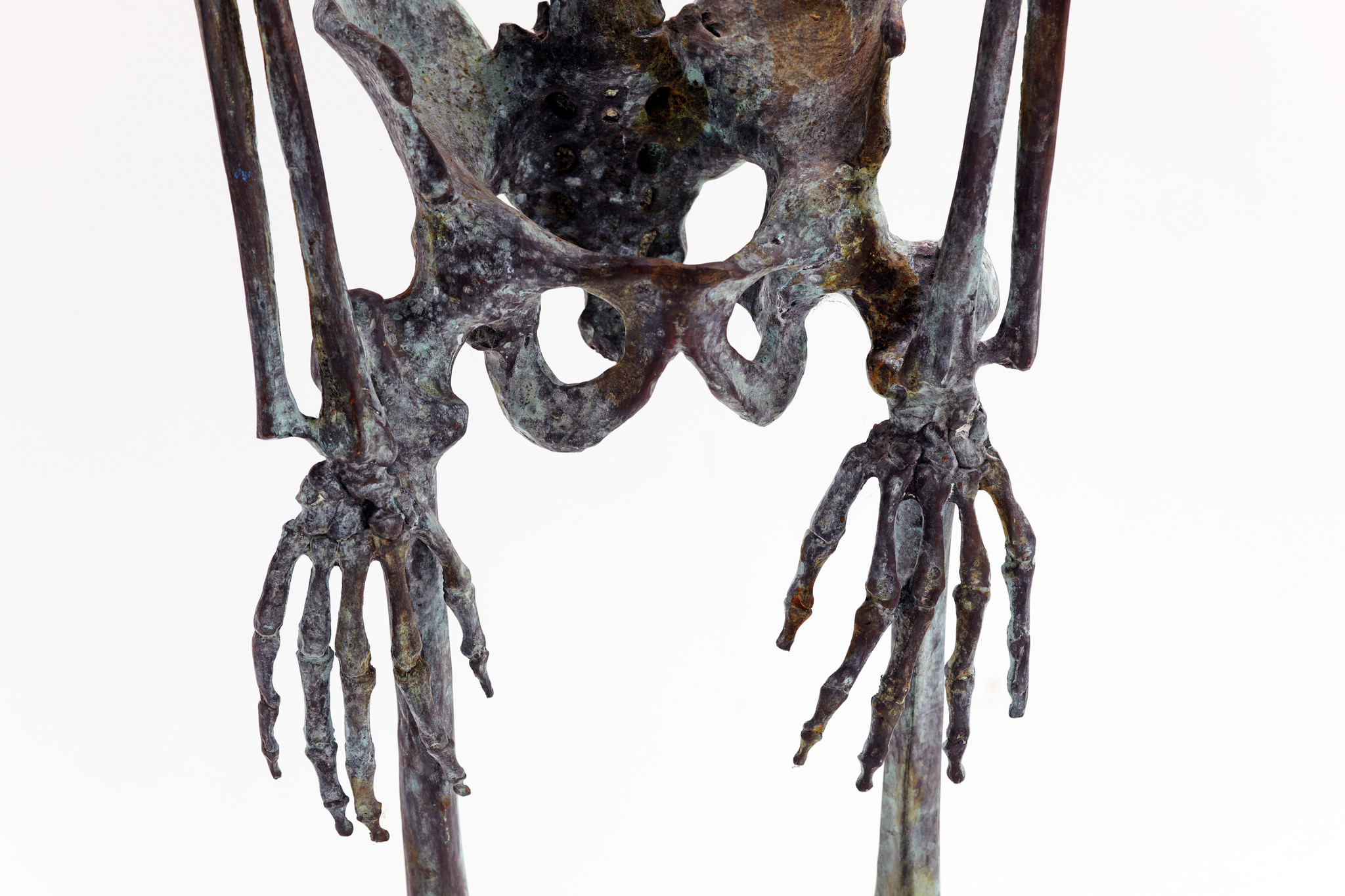 life-size skeleton human body in solid bronze
