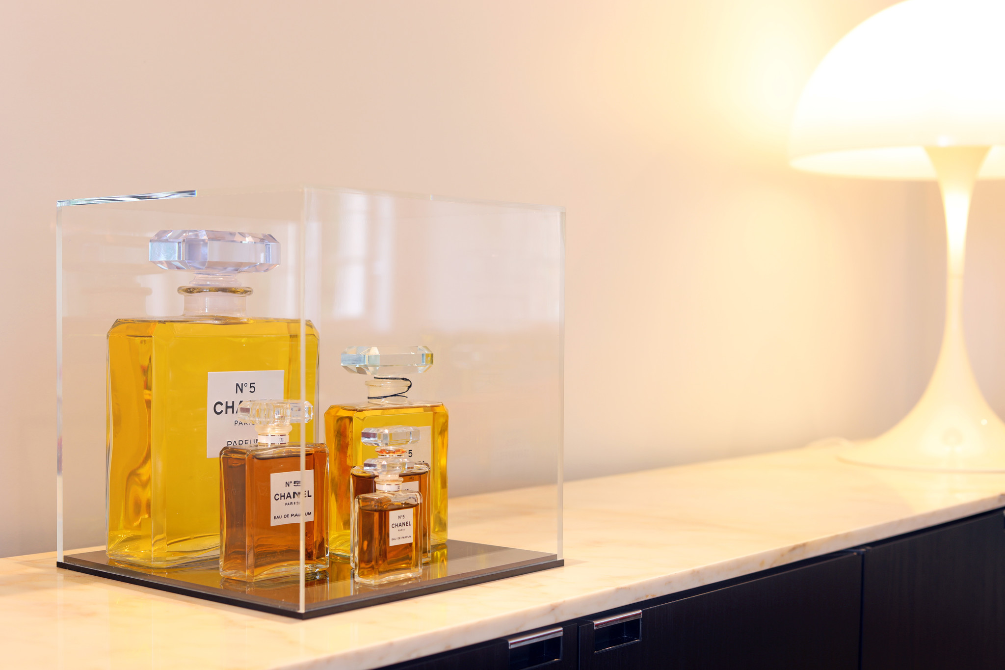 CHANEL N°5 COLLECTION OF BOTTLES IN SHOWCASE