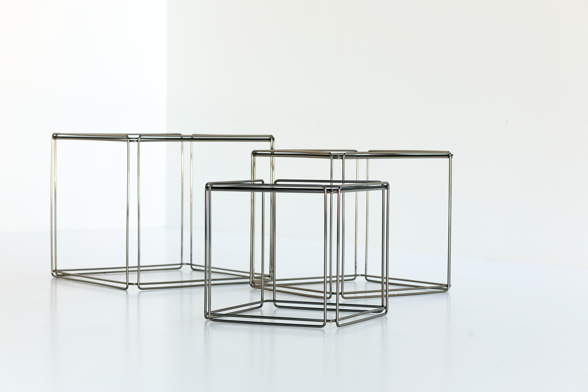 SET OF 3 SIDE TABLES DESIGNED BY MAX SAUZE FOR ATOW, 1980's