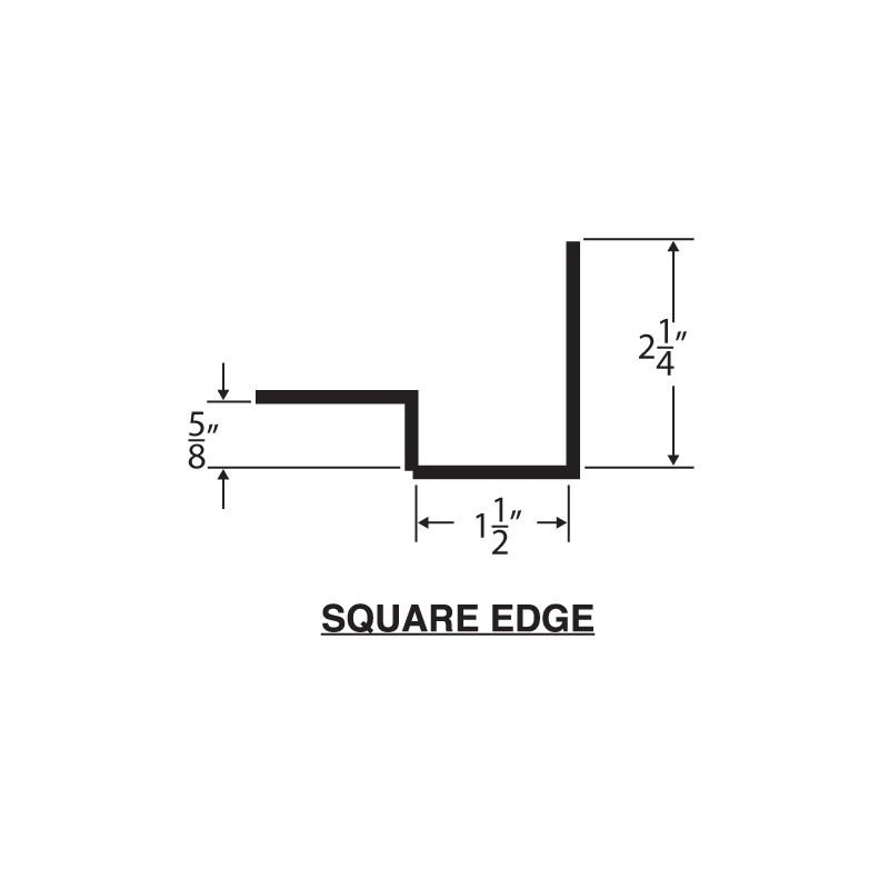 Concrete Countertop Randprofiel-Rechte hoek + achterwand profiel- 57mm