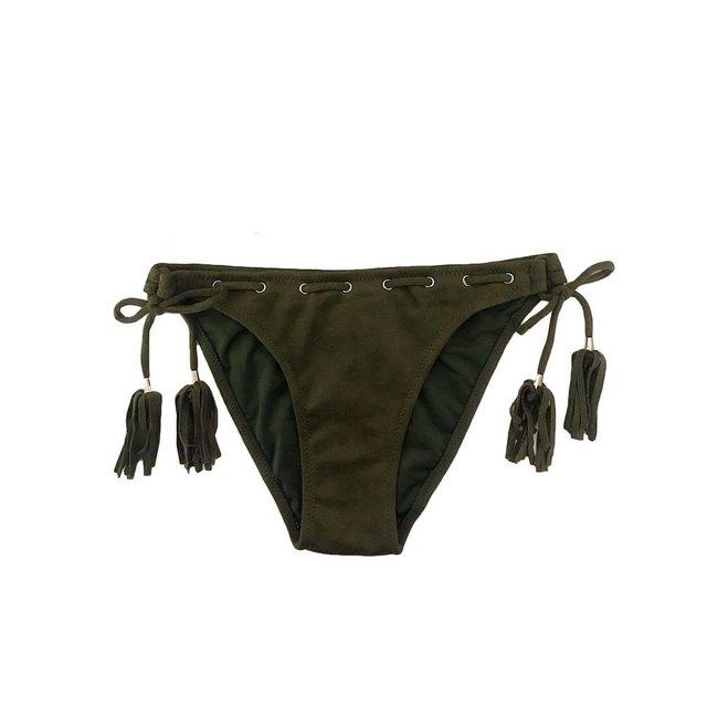 FestyFashion Bikinibroekje Velvet Kaki Maat XS - Supersale