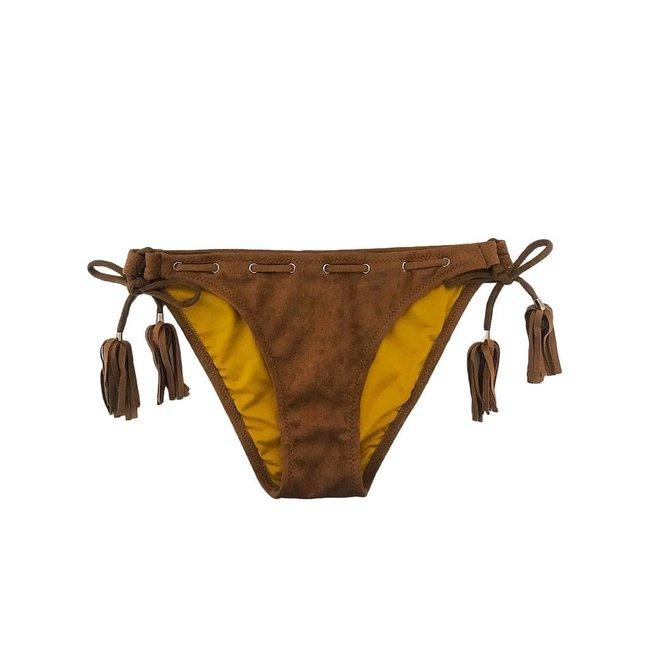FestyFashion Bikinibroekje Velvet Cognac XS - Supersale