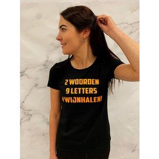 Shirt Zwart maat XL - '#Wijnhalen' - Supersale