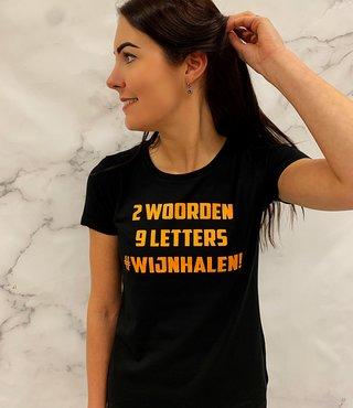 Shirt Zwart - '#Wijnhalen'