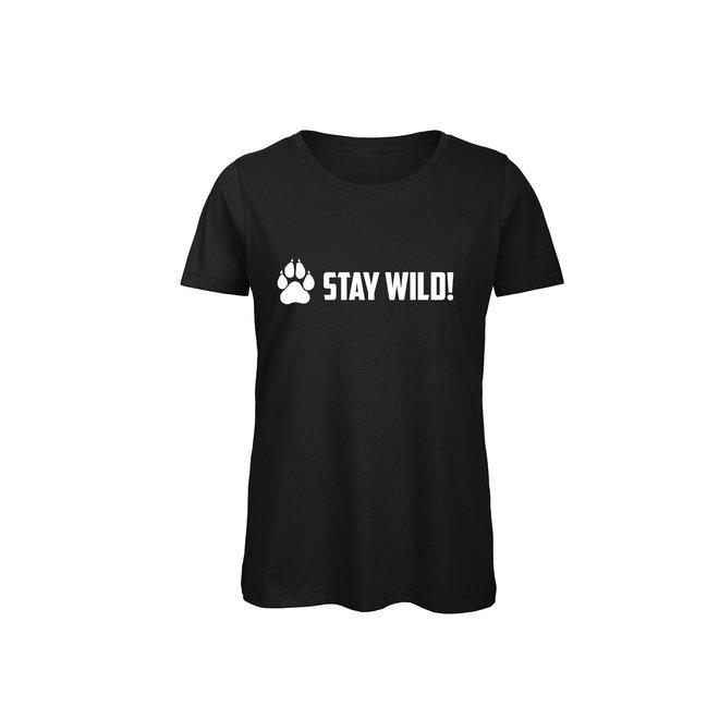 Shirt Zwart/Wit - 'Stay Wild!' - Supersale