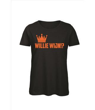 Shirt/Hoodie Zwart - 'Willie Wijn!?'