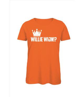 Shirt/Hoodie Oranje - 'Willie Wijn!?'