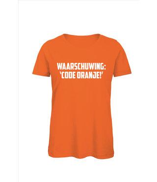 Shirt/Hoodie Oranje - 'Waarschuwing: code ORANJE!'