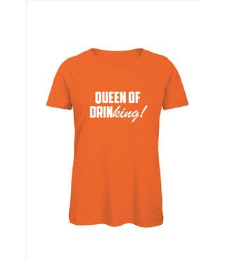 Shirt/Hoodie Oranje - 'Queen of drinKING'