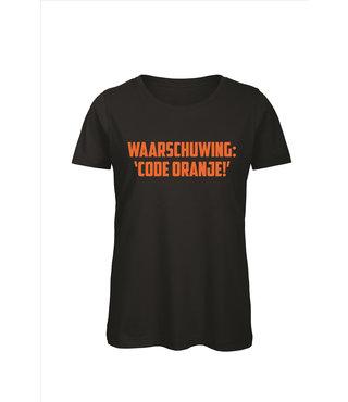 Shirt/Hoodie Zwart - 'Waarschuwing: code ORANJE!'
