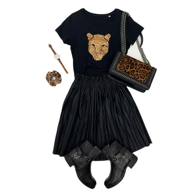 Shirt Zwart/Wit - 'Panterkop' -Supersale