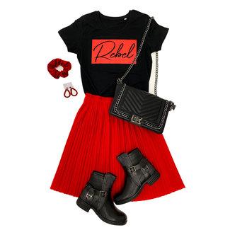 FestyFashion Shirt Hoodie Zwart/Wit  'Rebel Vierkant' - Supersale
