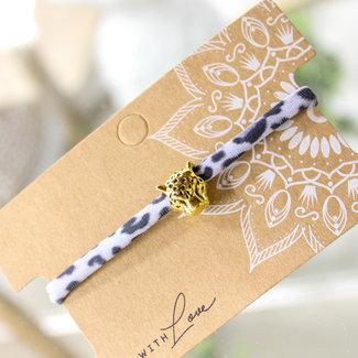 FestyFashion Armband Leopard Wit -Goud en Zilver  Panterhoofd