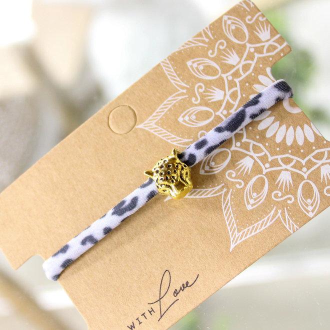 Armband Leopard Wit -Goud en Zilver  Panterhoofd