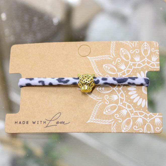 Armband Leopard Wit- Goud en Zilver Panterhoofd