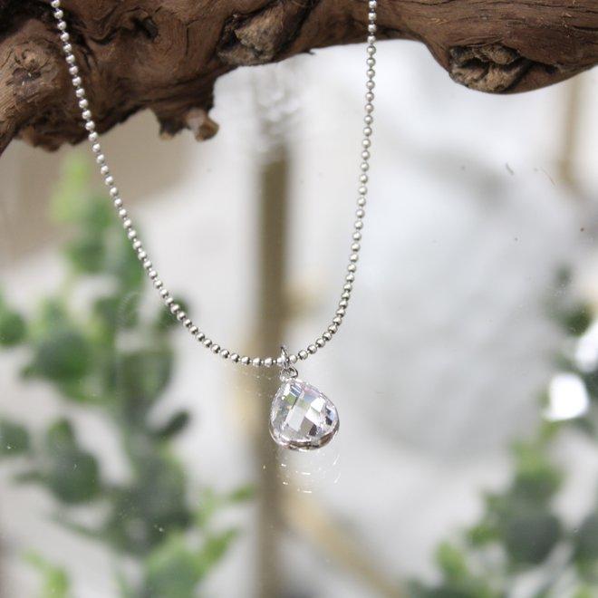 Biba Ketting Zilver - Crystal Druppel
