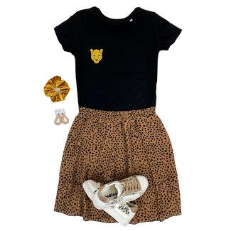 FestyFashion Shirt Zwart/Wit - 'Panterkop (mini)' - Supersale