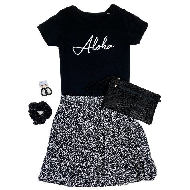 Shirt Zwart/Wit - 'Aloha' - Supersale
