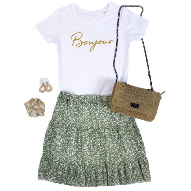 Shirt Zwart/Wit - 'Bonjour' - Supersale