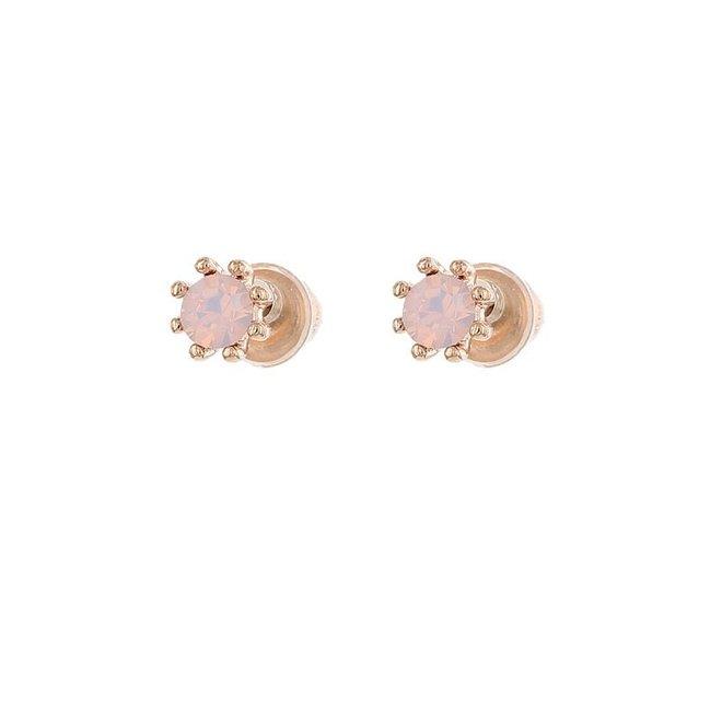 Oorknopjes Rose Roze  Opal
