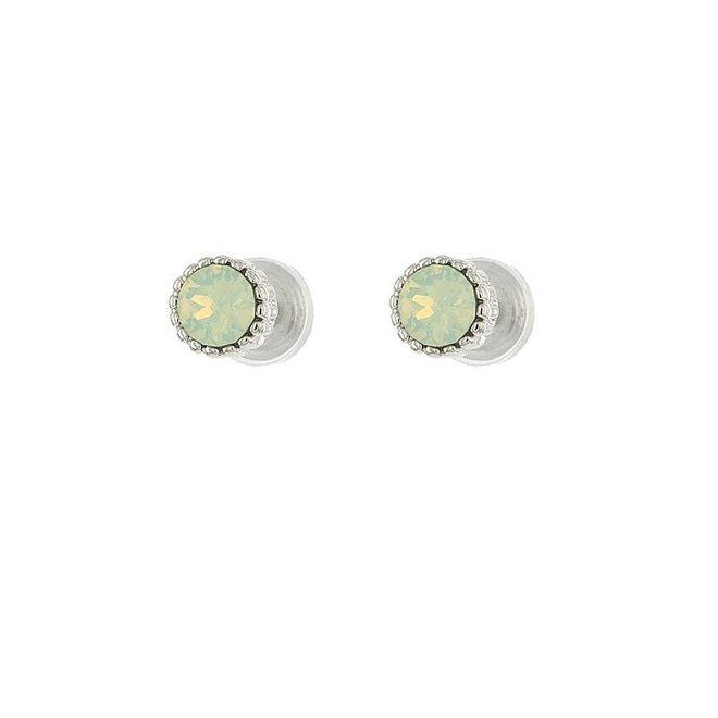Oorknopjes -Crysolite Opal/Zilver