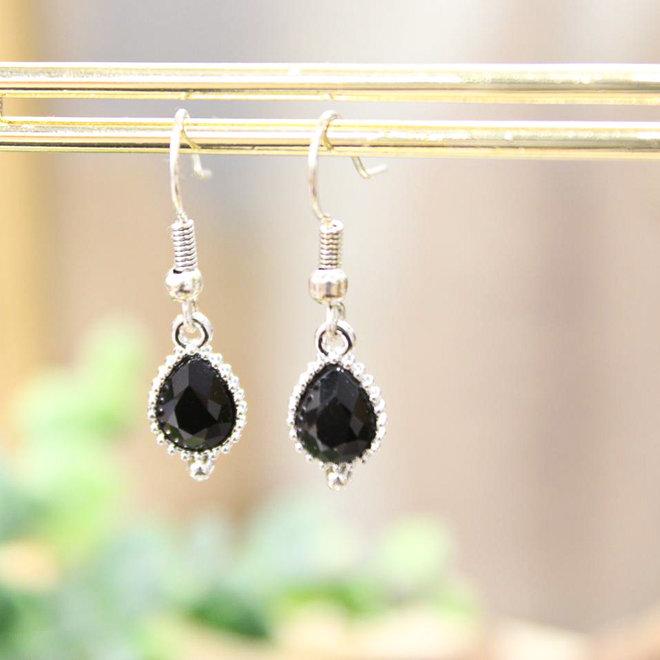 Oorbellen Zilver - Jewel Zwart Druppel