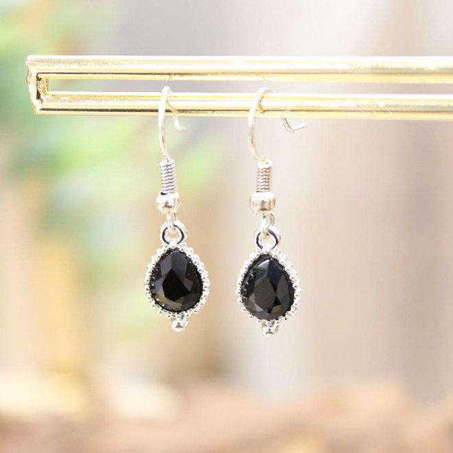 Oorstekers Zilver - Jewel Zwart Druppel