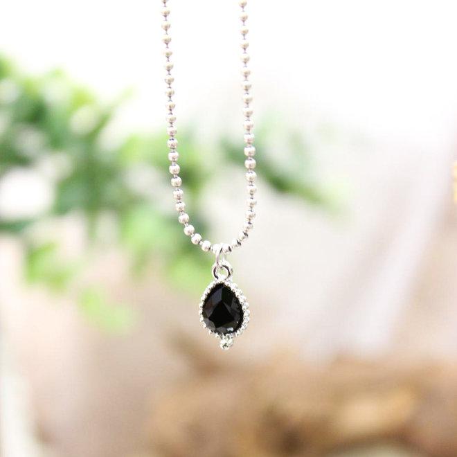 Ketting Zilver Jewel Zwart Druppel