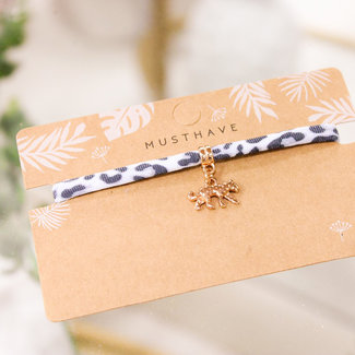 FestyFashion Armband Leopard Grijs  Panter/Rose