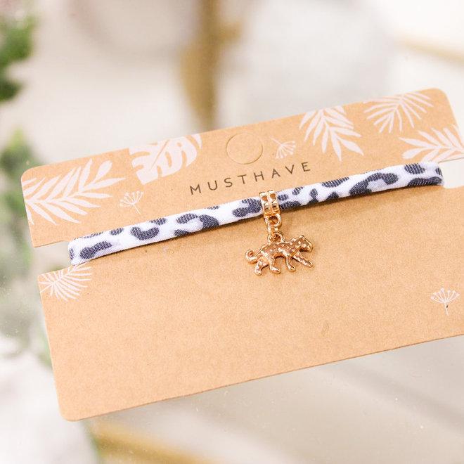 Armband Leopard Grijs - Panter/Rose