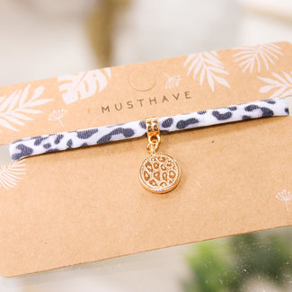 FestyFashion Armband Leopard Grijs  Panter Print/Rose