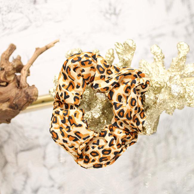 FestyFashion Scrunchie Riva Leopard Camel
