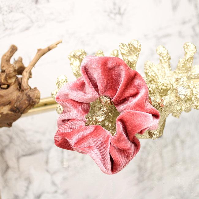 FestyFashion Scrunchie Velvet Roze
