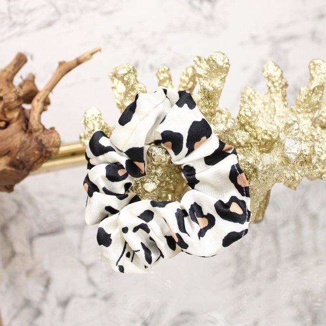 FestyFashion Scrunchie Leopard Wit
