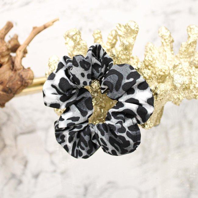 FestyFashion Scrunchie Leopard Grijs