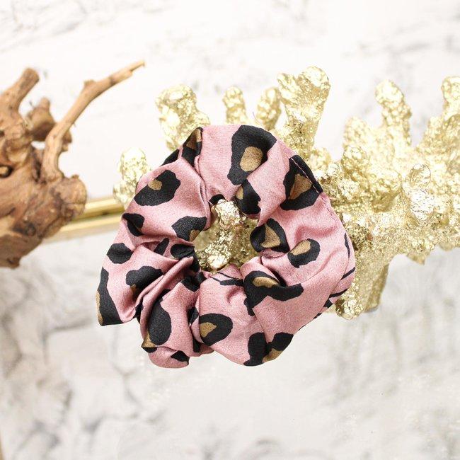 FestyFashion Scrunchie Leopard Roze