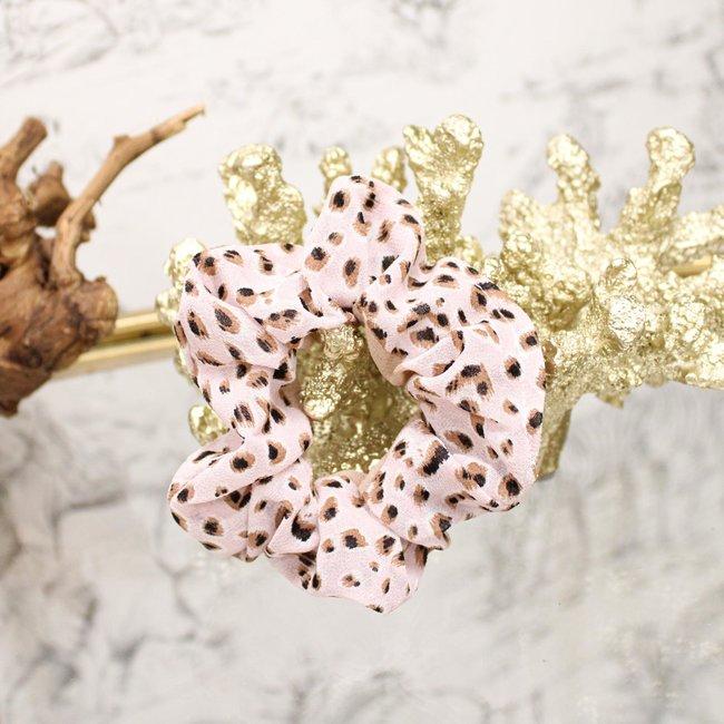 FestyFashion Scrunchie Leopard Lichtroze/Beige