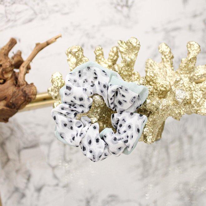 Scrunchie Leopard Grijs/Mintgroen