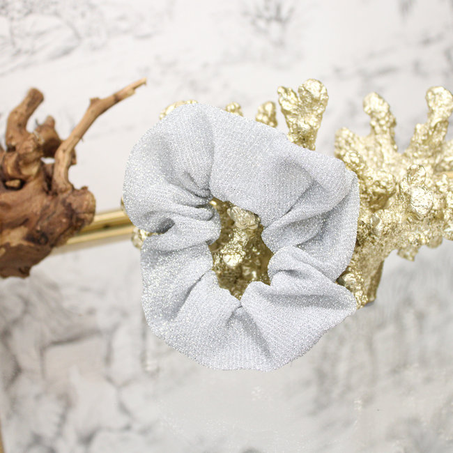 FestyFashion Scrunchie Glitter Zilver Wit