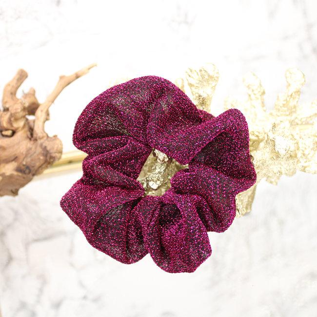 FestyFashion Scrunchie Glitter Donker Roze