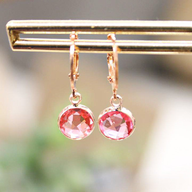 Oorbellen Rose Diamond Roze