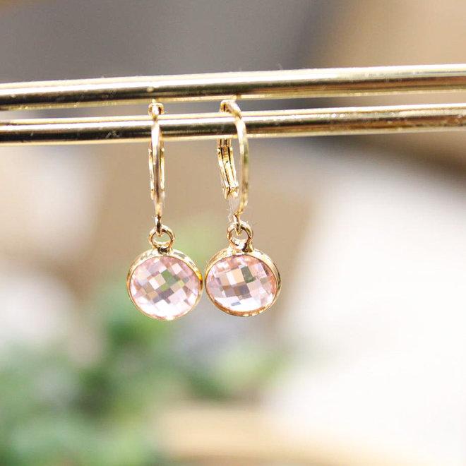 Oorbellen Goud Diamond Roze