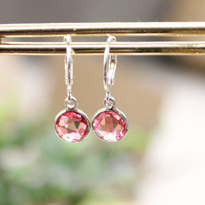Oorbellen Zilver - Diamond Roze