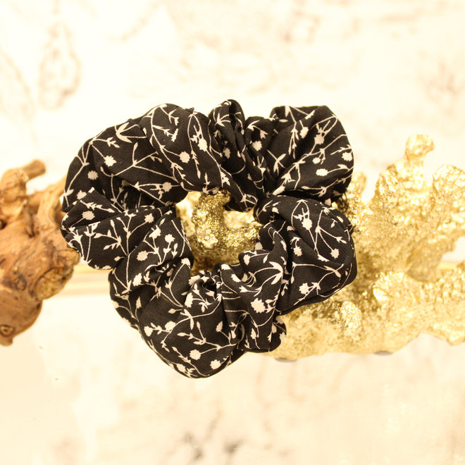 Scrunchie Flower Zwart