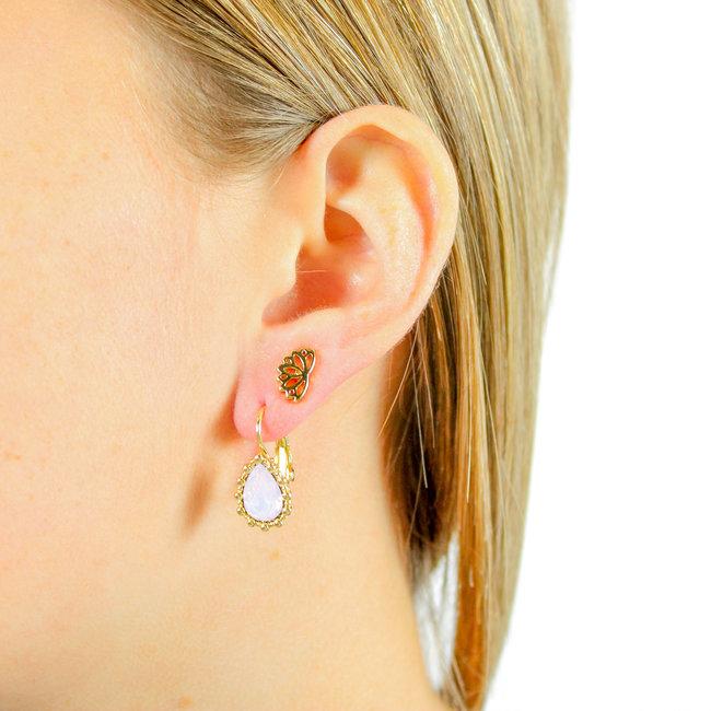 Biba Oorbellen Amber Goud  Rose Opal- Supersale