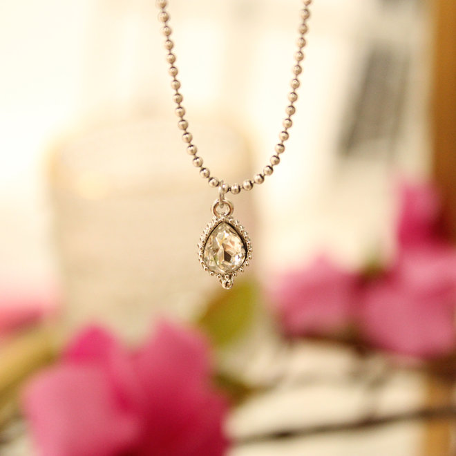 Ketting Zilver - Jewel Crystal Druppel