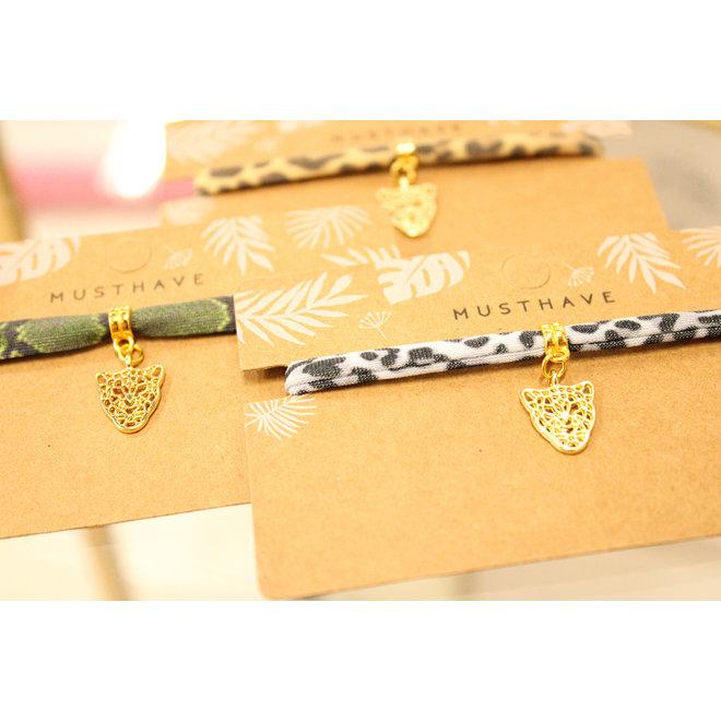 Armband Leopard Grijs Goud Panterkop