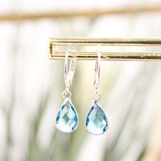 Oorringen Zilver Crystal Druppel Blauw